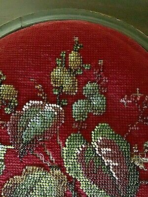 Antique Beadwork Tapestry Wooden Foot Stool 6