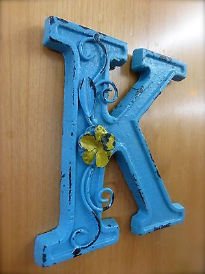 """BLUE CAST IRON WALL LETTER """"K"""" 6.5"""" TALL rustic vintage decor sign child nursery 3"""