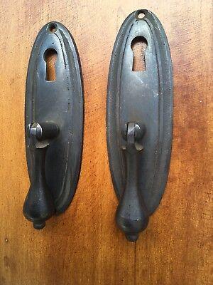 "4 oval drop Pull knob pulls handles 4"" brass door key hole vintage old style B 2"