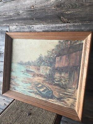Vintage GRAHL Landscape Oil Painting Rare 3