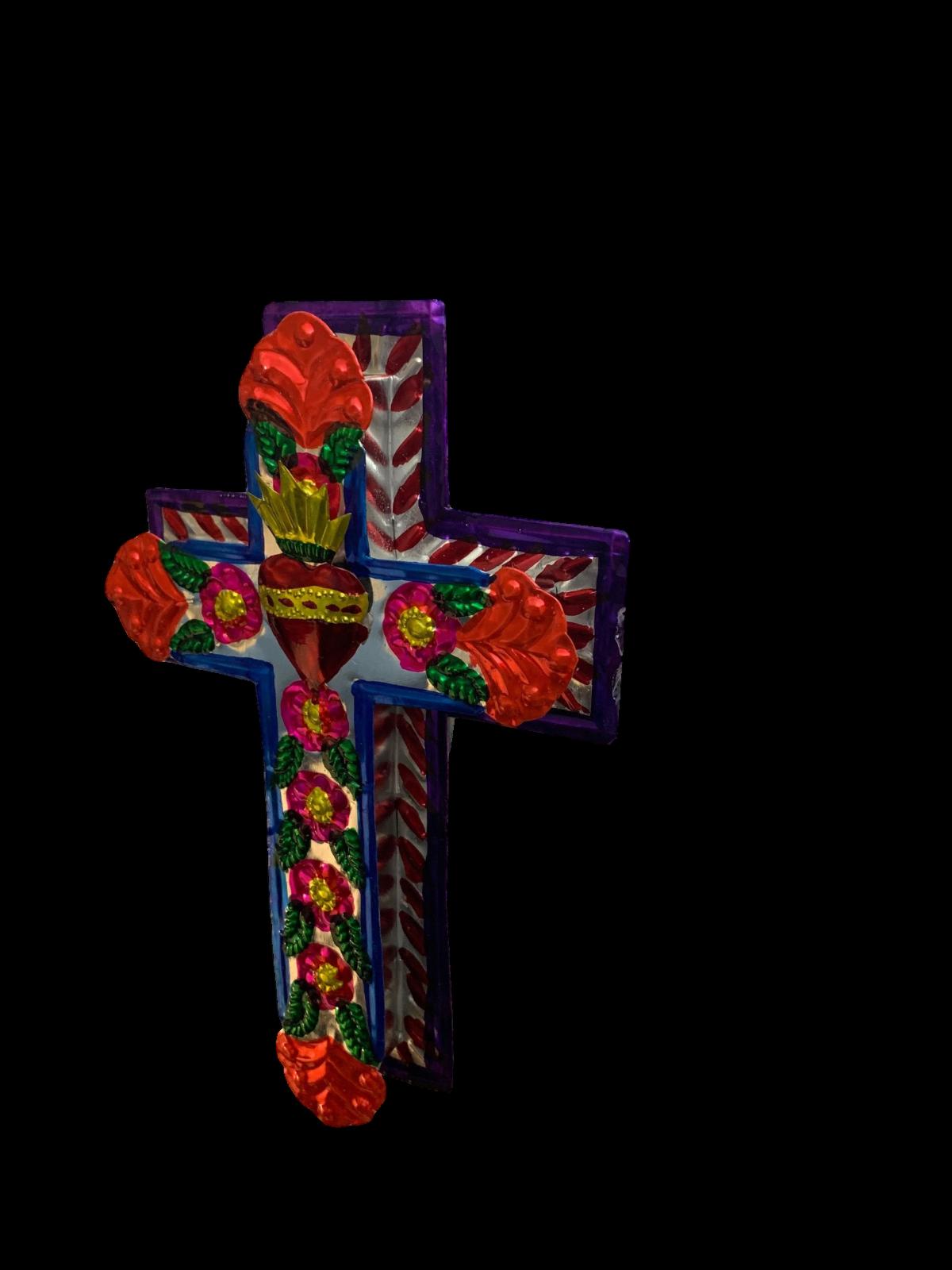 Embossed Tin Cross - Mexican Folk Art Wall Decor - Sacred Heart Ornament - Cruz 7