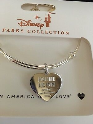Disney Alex & and Ani Lady And The Tramp Heart Silver Bracelet Together Fur-ever