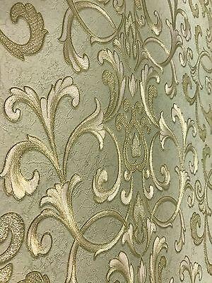 7 Of 12 Vinyl Embossed Wallpaper Textured Non Woven Modern Damask Green Gold Stripes 3D