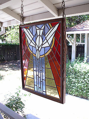 Vintage Church Stained Glass Window Salvage Bird Leaded HOLY SPIRIT DOVE Peace 2