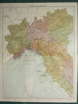 1919 Large Map Italy North West Lombardy Tuscany Elba Grosseto