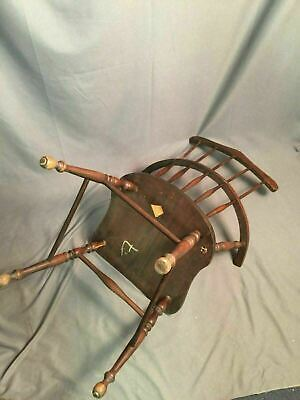 Antique Spindle Back Bow Wood Chair Made In USA 10