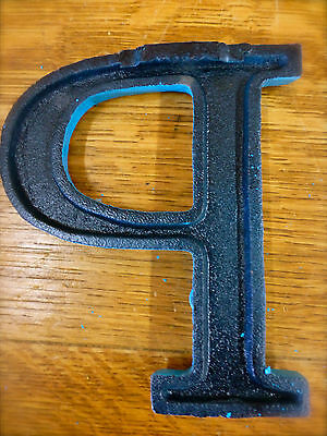 """BLUE CAST IRON WALL LETTER """"P"""" 6.5"""" TALL rustic vintage decor sign child nursery 5"""