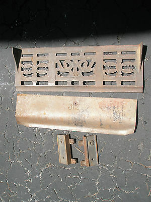 Antique Ornate Raised Relief Brass Gold Tone Metal Fireplace Surround Grate 9