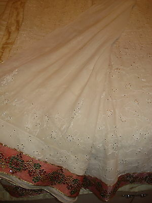 Ladies / Girls White Chiffon Saree With 'booty' Work All Over & Coloured Border 4