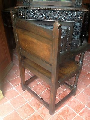 Splendid 17th century lozenge carved oak Wainscot armchair Anglesey North Wales 3