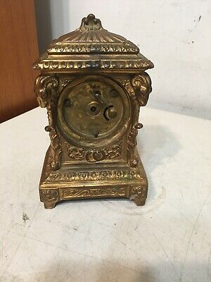 Antique Ornate Desk Or Carriage Clock W/ Rams Heads Ansonia Waterbury Era Parts 9