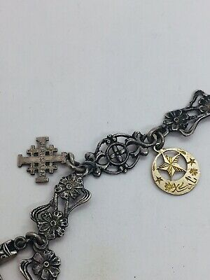Antique Victorian Sterling Silver Floral Ornate Charm Chain Necklace 4
