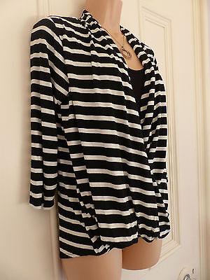 Wallis size 12 black and white striped jersey faux wrap top black vest 4
