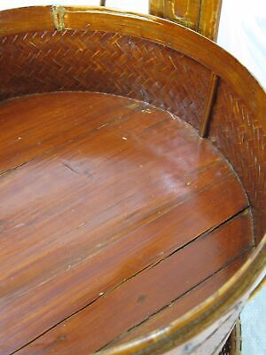 Chinese Antique Bamboo Food Box w Basket 9