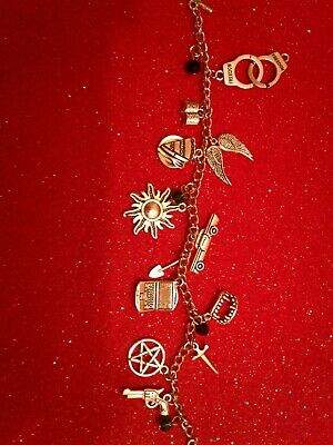 SUPERNATURAL BRACELET WITH SAM DEAN CASTIEL BOBBY AND CROWLEY ITEMS  Silver 7