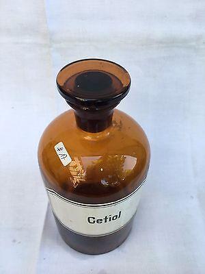 alte Apothekerflasche Braunglas Gefäß Apotheke 21,5cm Cetiol #17