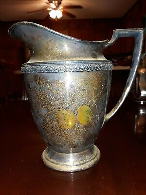 Wm. Rogers & Son Vintage Silverplate Water Pitcher in Primrose pattern #7817 3