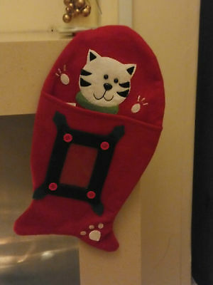 Fish Shaped Christmas Stocking For Your Cat * Clear Pocket For Photo * Cac 08 4