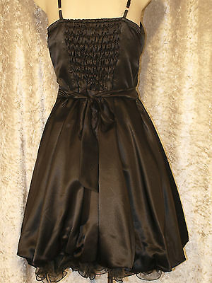 Leaver's Prom Formal Satin 1950's Style Party Dress with Full Gathered Skirt M 5