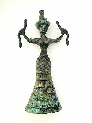 Ancient Greek Bronze Museum Statue Replica Of The Snake Goddess Collectable 1250 2