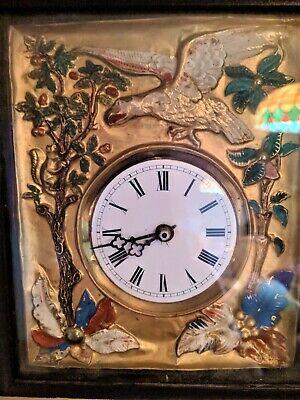 Black Forest French German Eagle picture frame swinger clock Gilded Gold 3