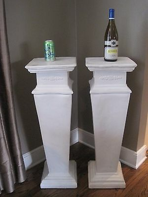 "Beautiful Pair of Estate White Plaster Pedestals, 35"" Tall 3"