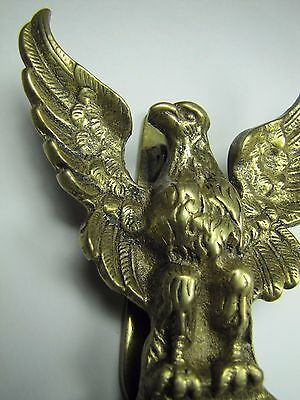 Old Brass Spread Winged Eagle Door Knocker nicely detailed perched bird England 2