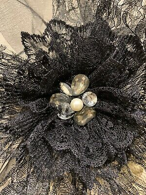 Unique Hand Crafted Large Black Fascinator Headband Ascot Wedding Church 2