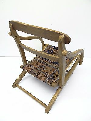 Antique Wood Wooden Blue & Red Oriental Prayer Rug Seat Kids Childrens Chair 9