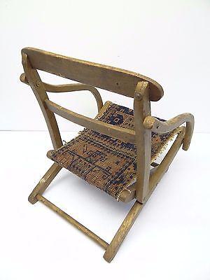 Antique Wood Wooden Blue & Red Oriental Prayer Rug Seat Kids Childrens Chair 9