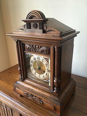 Antique Junghans Carved Oak Mantel Clock Westminster Chime Musical With Bracket 4