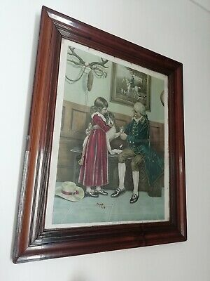 Antique Victorian First Aid Picture After Original Watercolour Frank Dadd 7