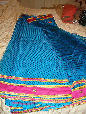 Ladies / Girls Striped Chiffon Saree With Contrasting Border And Blouse 5