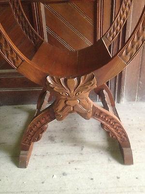 Pair Savonarola Medieval Gothic Dragon Mahogany x Frame Throne Chairs scissors 8