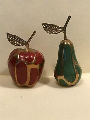 Pear and Apple enamelled brass trinkets brass apple and pear