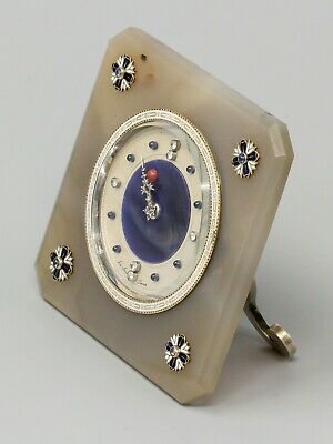 LACLOCHE Art Deco Diamond Sapphire Agate Coral Silver and Enamel Desk Clock 2