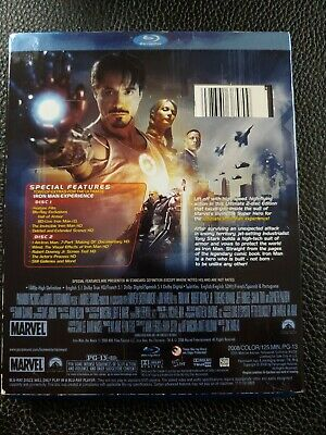 Iron Man w/ Slipcover (2-Disc Blu-ray Set, 2008, Ultimate Edition) marvel mcu 2