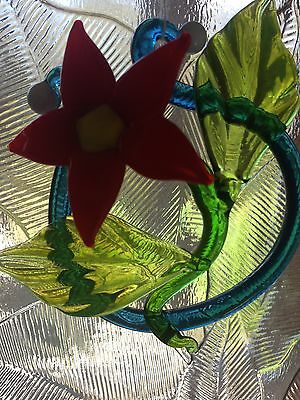 Poinsettia - Flame-worked Glass Flower Suncatcher or Small Paperweight/Ornament 2