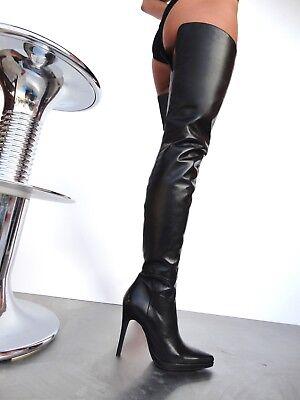66a49eb3e2faa8 ... Giohel Italy Platform Overknee Schuhe Boots Stiefel Leather Black  Schwarz 42 3
