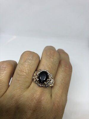 Vintage Genuine Smoky Topaz Deco 925 Sterling Silver Ring 8