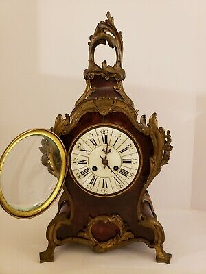 Antique 1855 V. Depose French Boulle Victorian Red Shell Bracket Mantel Clock 3