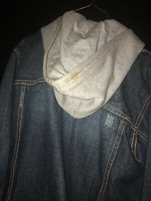 Boys Calvin Klein Jean Jacket Hoodie Size M Used With Stain/damage On Grey Hood 8