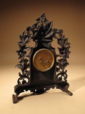 Rare Old Brown Colour Gild Cast iron Alarm mantel Clock Circa: 1890-1900 8