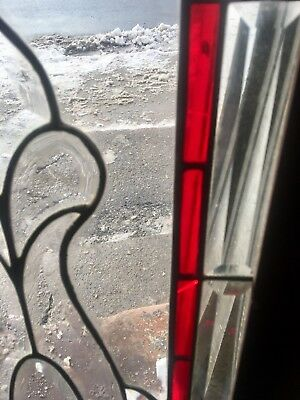 Rare Antique Architectural Heavy Beveled Leaded Glass Window