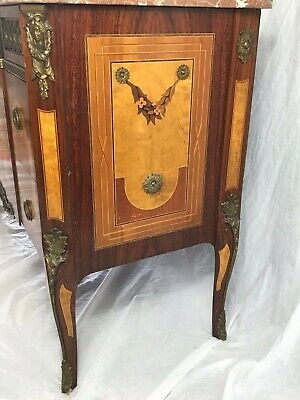 1 Impressive Antique French Empire Style Marble Canted Marquetry Credenza Chest 5
