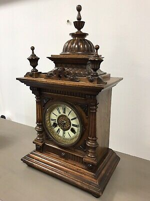 Victorian Black Forest Golden Oak 14 Day Mantle Clock By H.a.c. Working. 5