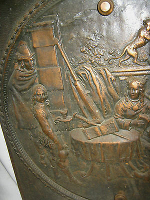 Antique Cast Iron Fireplace Cover Country Bronze Panel Music Art Plaque Monkey 2