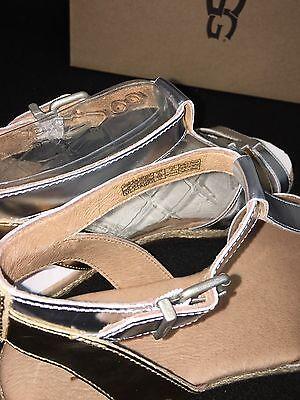 e2bf26c35ce UGG AUSTRALIA LANETTE METALLIC STERLING GOLD LEATHER ANKLE STRAP SANDALS  1011217