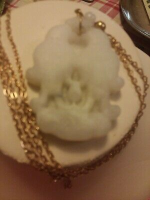 Antique Chinese beautiful white Jade Love Birds, h/c  Pendent w/gold clad chain. 11