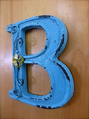 "BLUE CAST IRON WALL LETTER ""B"" 6.5"" TALL rustic vintage decor sign barn nursery 2"